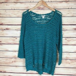 Lucky Brand Open Knit Sweater 3/4 Sleeves Teal XL